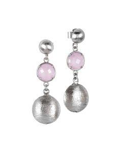 Orecchini pendenti con cristalli color quarzo rosa milk