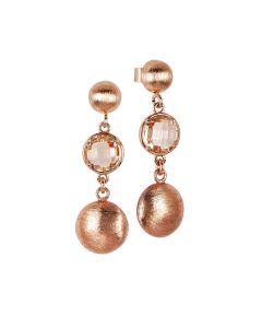 Drop earrings with peach crystal