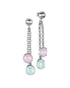 Tufted earrings with milk green crystals and rose milk quartz color
