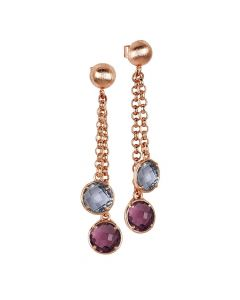 Tufted Earrings with Amethyst and Fumed Crystals