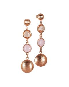 Hanging rose earrings with peach crystals and rose milk quartz color