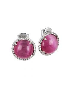 Stud earrings with cubic zirconia and fuchsia cabochon