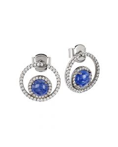 Earrings with cubic zirconia and blue rutilated inner cabochon