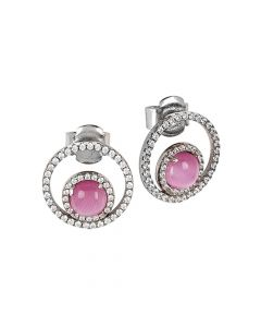 Earrings with cubic zirconia and flecked fuchsia inner cabochon