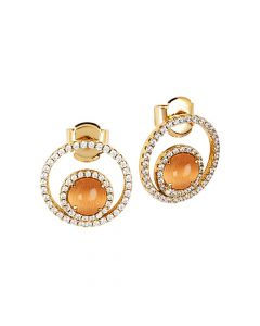 Earrings with cubic zirconia and flecked orange cabochon