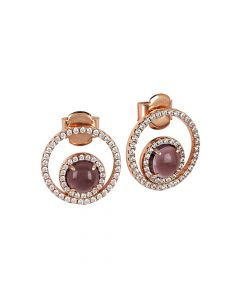 Earrings with cubic zirconia and flecked amethyst inner cabochon