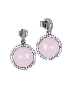 Earrings with light pink cabochon pendant and zircons