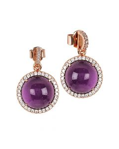 Earrings with flecked amethyst cabochon pendant and zircons