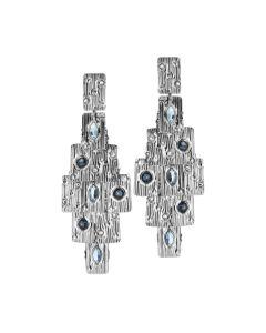 Orecchini chandelier con Swarovski blu