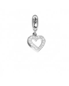 Charm in the shape of a heart with zircons