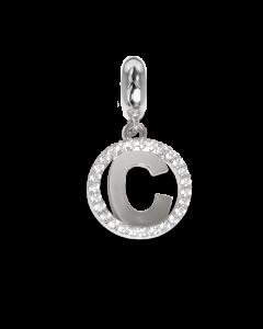 Charm circolare in zirconi con lettera C